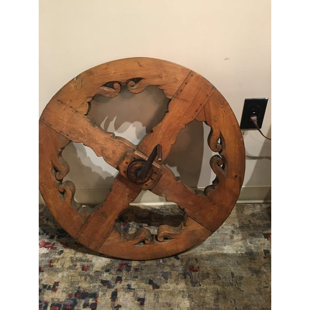 Antique Pine Spinning Wheel For Sale - Image 4 of 13