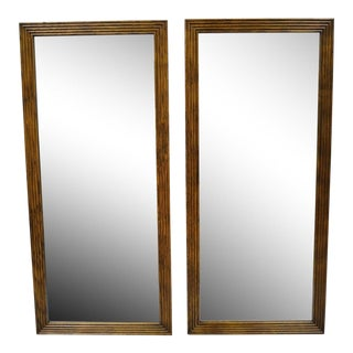 Late 20th C. Vintage Henredon Artefacts Oak Wood Campaign Style Wall Mirrors- A Pair For Sale