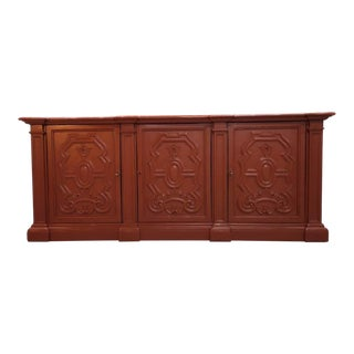 Early 20th C. French Brick Red Country Sideboard Kitchen Buffet Shabby Chic For Sale