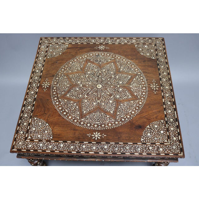 1920s Wood and Bone Inlay Table For Sale - Image 5 of 6