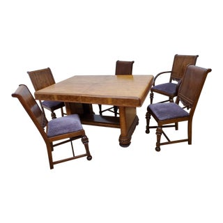 1950s Art Deco Waterfall Dining Set - 6 Pieces For Sale