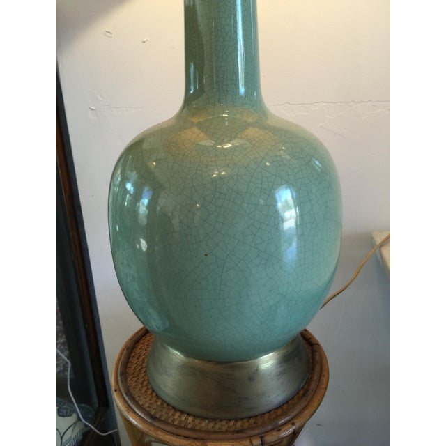 Vintage Celadon Lamp with Crewel Shade - Image 3 of 4