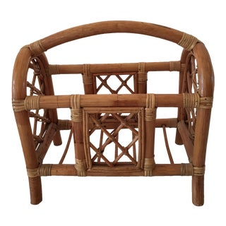 1960s Boho Chic Rattan Magazine Stand For Sale