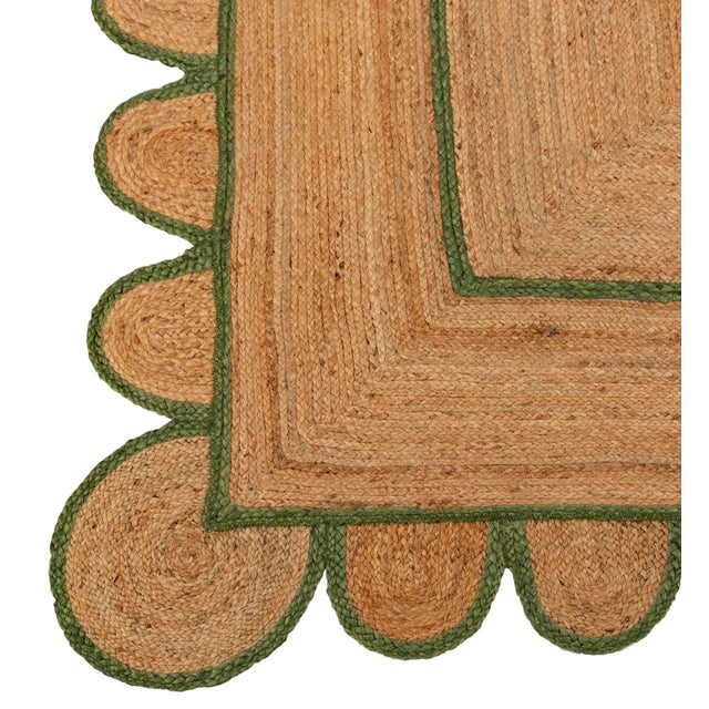 4'x6' Olive Green Scallop Jute Hand Made Rug For Sale - Image 4 of 10