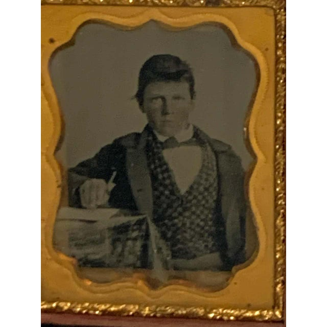 19th Century Ambrotype of a Young Male Student/ Writer, Gutta Percha Case For Sale - Image 4 of 8