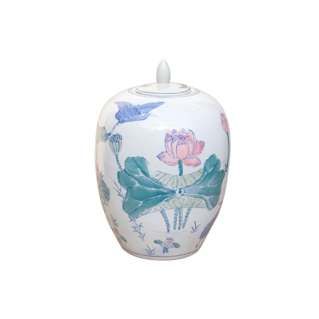 Chinoiserie Ceramic Ginger Jar With Lid For Sale In Tampa - Image 6 of 6