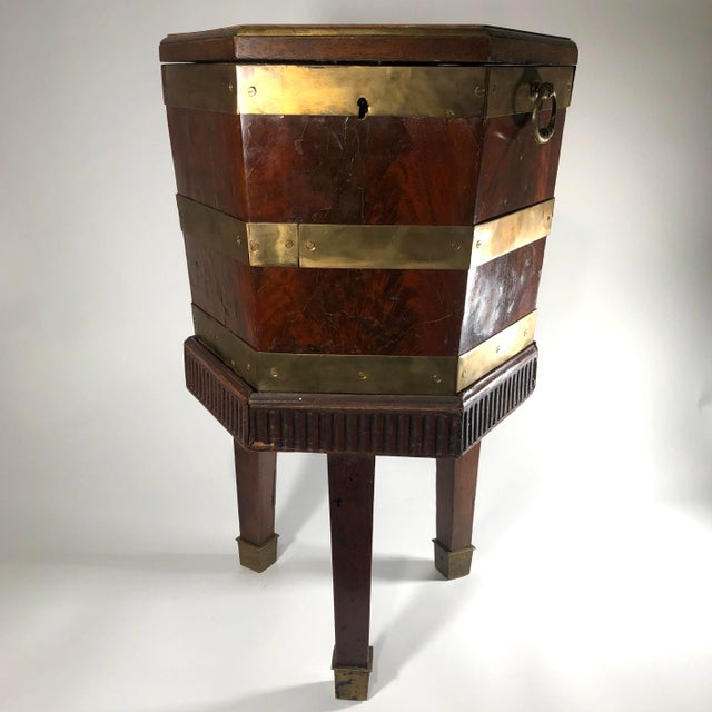Metal Late 18th Century English George III Period Mahogany and Brass Bound Cellarette Side Table For Sale - Image 7 of 7