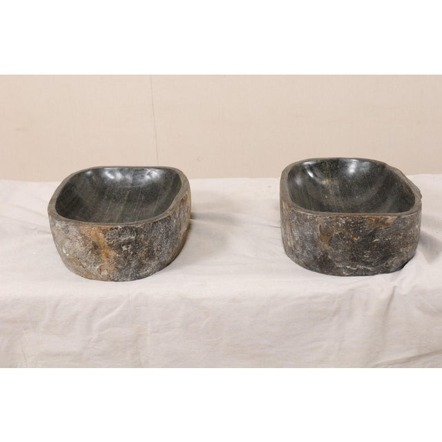 Early 21st Century Natural Handcrafted River Rock Sinks-A Pair For Sale - Image 5 of 11
