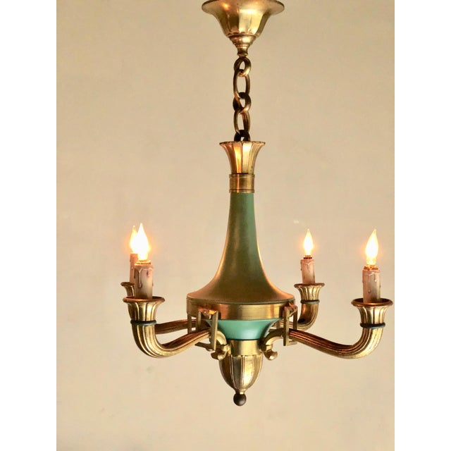 Mid 20th Century French 4 Arm Bronze & Patina Empire Style Chandelier For Sale - Image 4 of 4