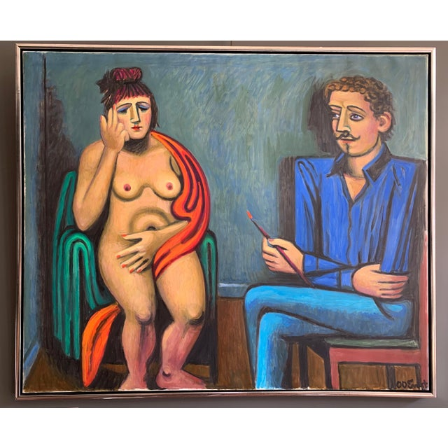 """Artist and Model"" O/C by Ole Otto Ernst, Danish For Sale - Image 11 of 11"