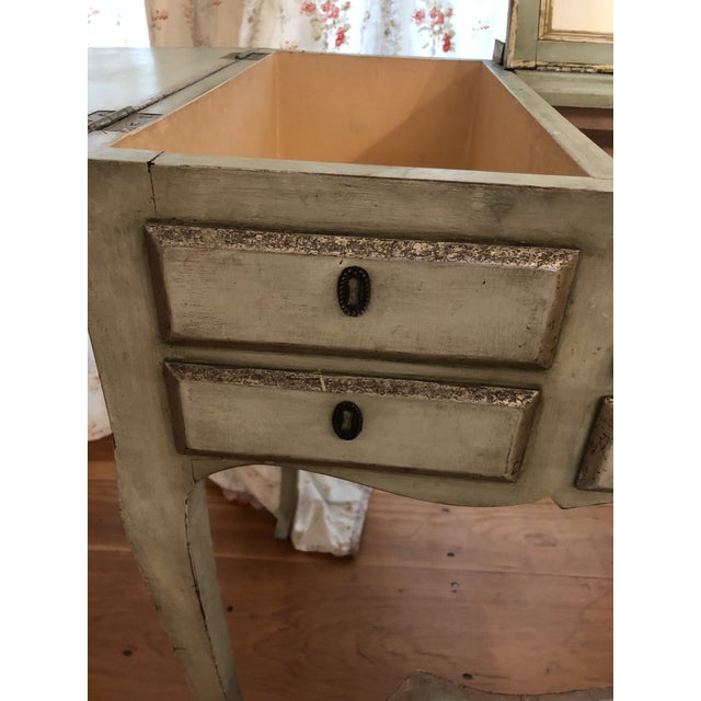 1920s Antique Hand Painted French Vanity With Bench-a Pair For Sale - Image 9 of 13