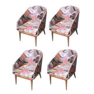 Vintage Mid Century Abstract Upholstered Danish Modern Dining Chairs- Set of 4 For Sale