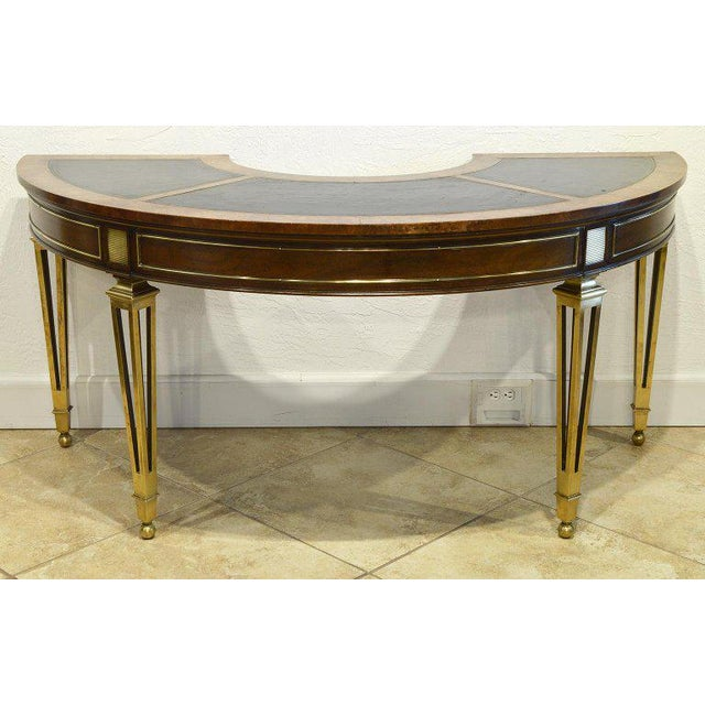 Animal Skin Exceptional Midcentury Semi Circular Brass and Burled Wood Desk by Mastercraft For Sale - Image 7 of 13