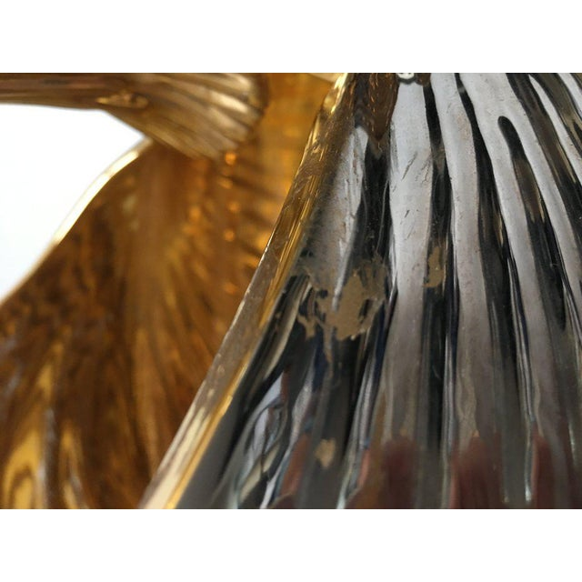 Monumental Italian Ceramic Swan Nautilus Shell Floor Planter Painted in Gold and Silver For Sale - Image 9 of 12