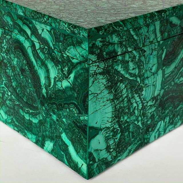 Large Modern Malachite Stone Jewelry Box For Sale - Image 11 of 13