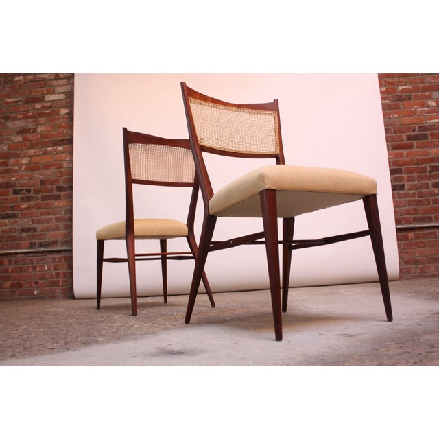 Directional Set of Eight Stained Mahogany and Cane Directional Dining Chairs by Paul McCobb For Sale - Image 4 of 13