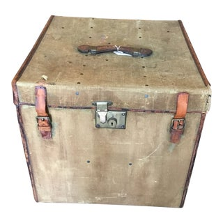 20th Century Rustic Leather and Canvas Trunk For Sale