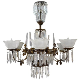 Renaissance Style Brass and Crystal Glass Chandelier For Sale