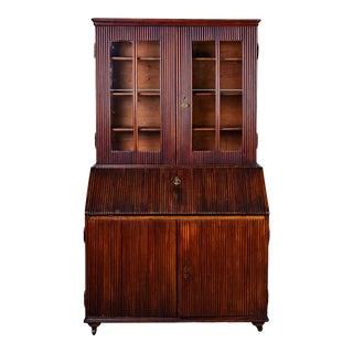 Tall Mid-19th Century English Reeded Walnut Secretary Cabinet For Sale