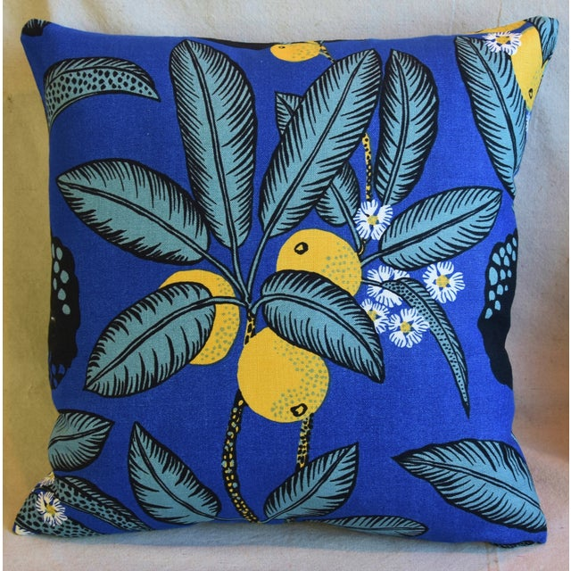 """Contemporary Designer Josef Frank """"Notturno"""" Floral Linen Feather/Down Pillows 18"""" Square - Pair For Sale - Image 3 of 11"""
