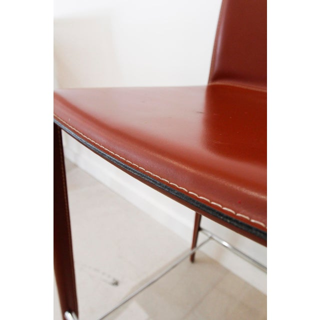 Italian Red Leather Barstools- a Pair - Image 2 of 7