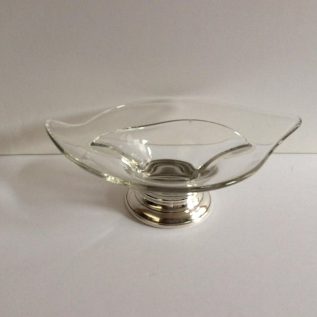 Glass & Sterling Silver Divided Dish For Sale - Image 5 of 5