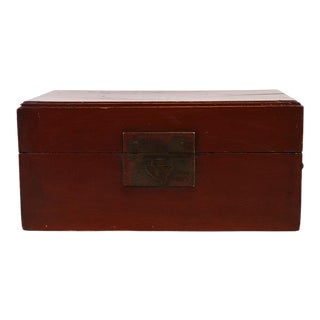 Antique Chinese Red Lacquered Jewelry Box For Sale