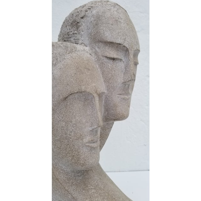 "1960s Vintage ""His and Hers "" Carved Stone Bust Sculpture For Sale - Image 4 of 12"