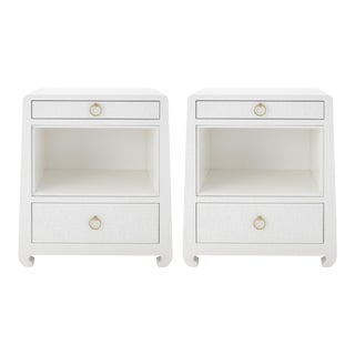 Bungalow 5 Ming 2-Drawer White Lacquered Grasscloth Side Tables - A Pair