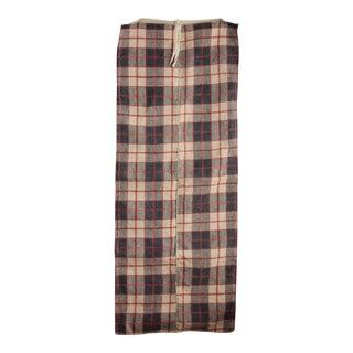 Antique 1850 Red & Indigo Linen Plaid Homespun Pillow Cover Fabric For Sale