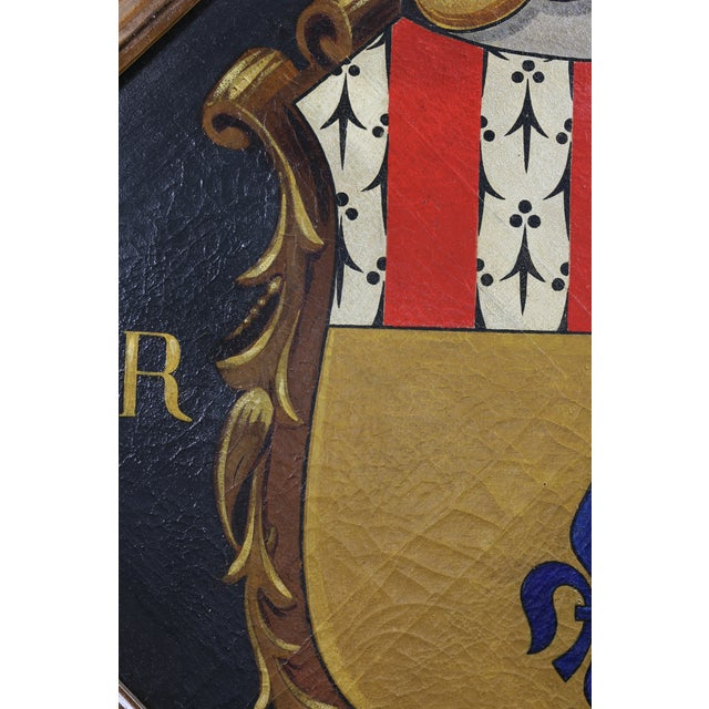 Traditional European Oil on Canvas Crest or Coat of Arms For Sale - Image 3 of 5