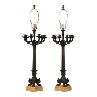 1950s Georgian Bronze Five Arm Candelabra Lamps - a Pair For Sale