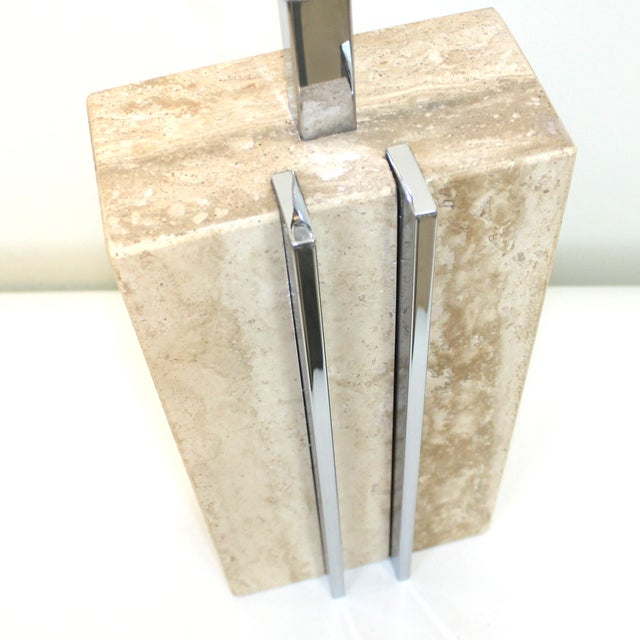 1960s Raymor Marble and Chrome Skyscraper Lamp - Image 4 of 10