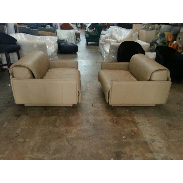 """Pair of De Sede of Switzerland """"1986"""" Oversized Modern Leather Chairs with newly upholstered leather ready to go to be..."""