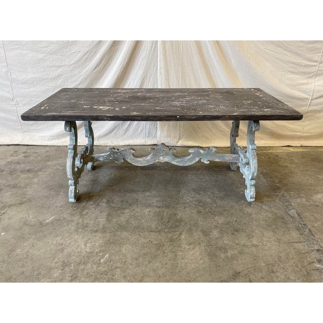 Tuscan Painted Trestle Dining Table For Sale - Image 9 of 13