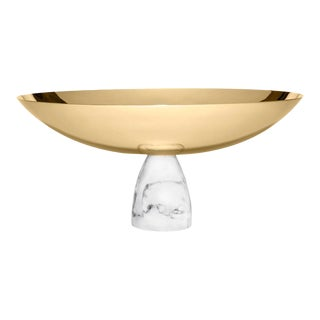 Coluna Fruit Bowl, Marble & Gold For Sale