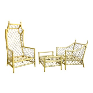 Vintage Rattan & Bamboo Butlers Chair Set For Sale