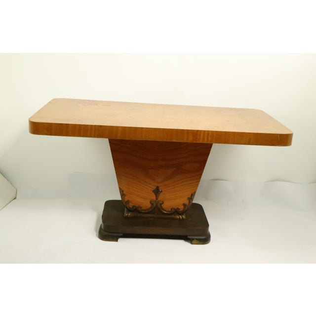 Yellow Diminutive English Art Deco Burl Console Table For Sale - Image 8 of 9