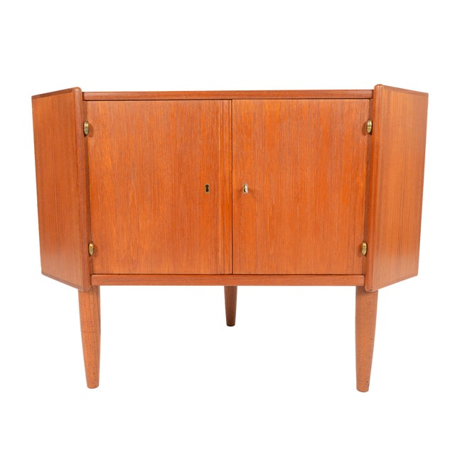 Danish Modern Low Teak Corner Cabinet - Image 1 of 8