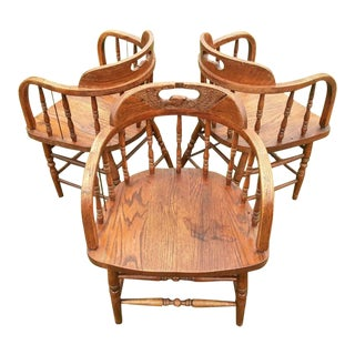 Mid Century Modern Carved Eagle Spindle Back Wooden Chairs- Set of 3 For Sale
