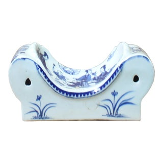 Chinese Blue White Porcelain Scenery Graphic Pillow Shape Display For Sale