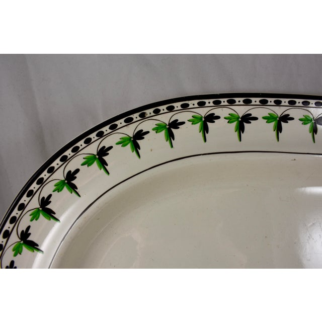 """English Traditional Josiah Spode 15"""" Creamware Hand Painted Fern & Dot Platter, 1785 For Sale - Image 3 of 11"""