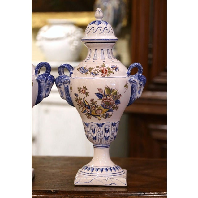 """Late 20th Century Pair of Mid-Century French Hand Painted Faience """"Saint Clement"""" Urns With Lids For Sale - Image 5 of 13"""