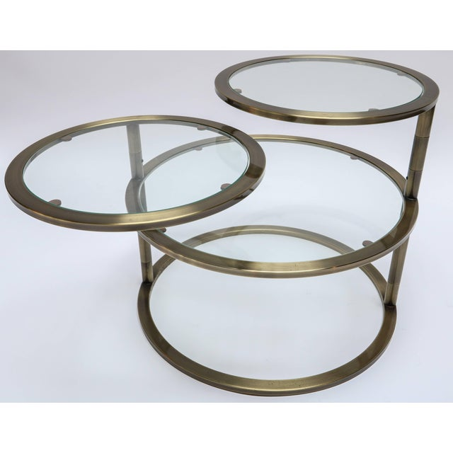 Metal Three Tiered Brass Coffee/Side Table With Adjustable Shelves For Sale - Image 7 of 8