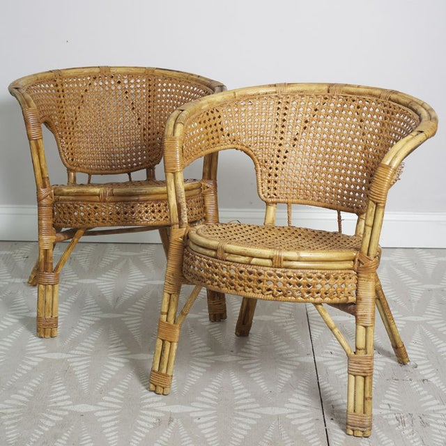 Rattan Cane Arm Chairs - A Pair - Image 2 of 5