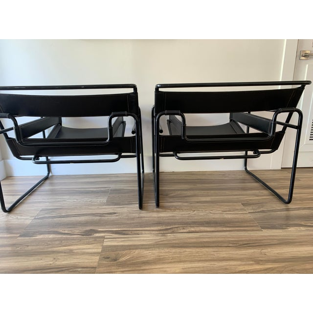 Metal 1970s Vintage Wassily Style Chairs With Black Frames - a Pair For Sale - Image 7 of 12