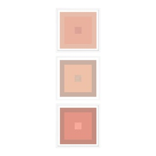 Minimal Geometric Color Study Prints Blush Nude Tones in White Frames - Set of 3 For Sale