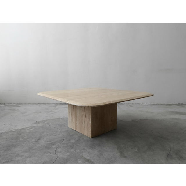 Contemporary Square Polished Italian Travertine Coffee Table For Sale - Image 3 of 7