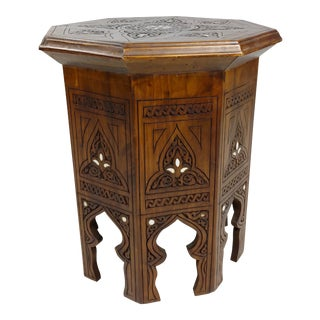 Vintage Syrian Moorish Octagonal Tabouret Side Table W/Carved Islamic Graphics For Sale