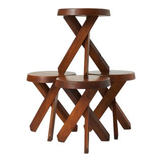 A Set of Four Pierre Chapo S31 Stools For Sale
